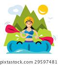 Vector Rafting Girl.  29597481