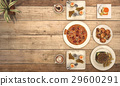 nice meal with pizza on wooden table 29600291