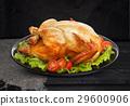 Roasted chicken on black background 29600906