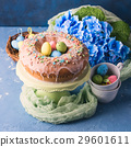 Easter sweet cake with sugar frosting decor 29601611
