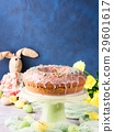 Easter cake with sugar frosting decorations eggs 29601617