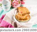 Festive breakfast peanut butter brownies on pastel 29601699