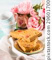 Festive breakfast peanut butter brownies on pastel 29601700