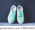 Pair of green woman canvas sneaker blue background 29601809