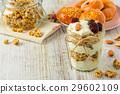 Healthy breakfast ingredients on a  wooden table. 29602109