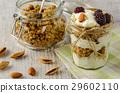 Healthy breakfast ingredients on a  wooden table. 29602110