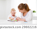 Mother with baby son with colored pencils 29602216