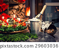 Festive decoration with champagne and fireplace 29603036