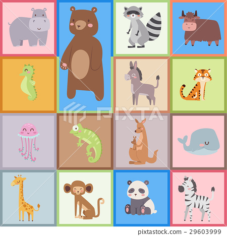 Cute zoo cartoon animals isolated funny wildlife 29603999