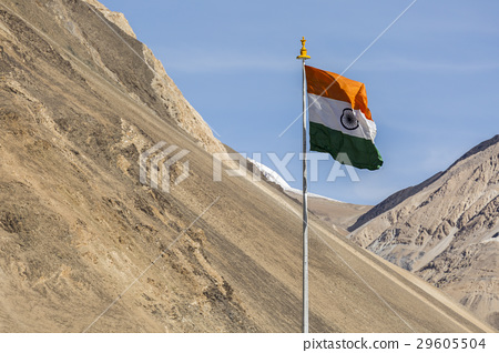India symbol indian flag against mountains  29605504