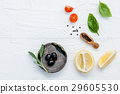 Food background with fresh herbs . 29605530
