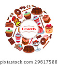 Dessert and pastry sweets cartoon poster design 29617588