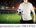 player holding ball with stadium background 29619762