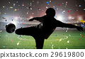 silhouette soccer player kicking the ball 29619800