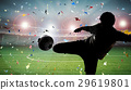 silhouette soccer player kicking the ball 29619801