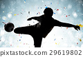 silhouette soccer player kicking the ball 29619802