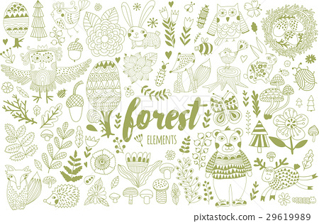 Vector forest elements in doodle childish style 29619989