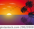 Tropical sunset on the beach with palm trees 29620908