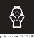 flat icon in black and white Christmas angel 29621738