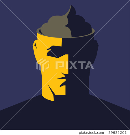 Male open head with big poop inside. 29623201