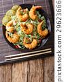 Shrimp tempura with green pasta and sesame 29623666