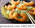 Fried shrimp with green pasta, chili, lime 29623675