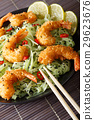 Fried shrimp with green pasta, chili, lime 29623676