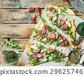 Homemade sage flatbread pizza with rose wine in 29625746