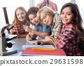 Team of little scientists enjoying biology class 29631598