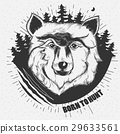 Vector hand-drawn illustration of a wolf head 29633561