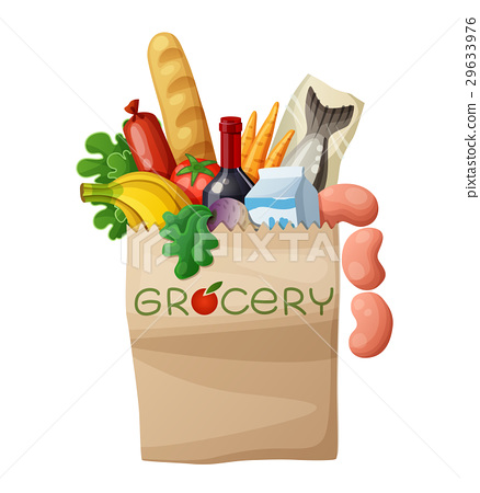 Vector grocery bag isolated on white background 29633976