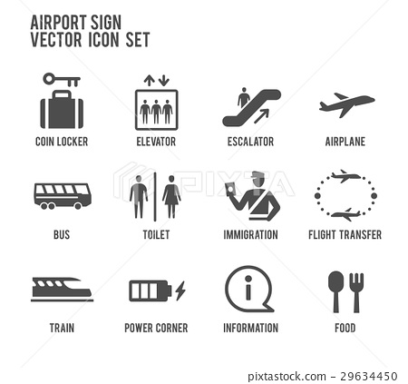 Airport sign vector icon set 29634450