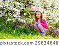 Adorable little girl in blooming cherry garden 29634648