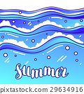 Summer at seaside. Stylized illustration of waves 29634916