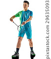 asian badminton player man isolated 29635093