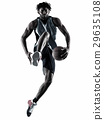 basketball player man isolated silhouette shadow 29635108