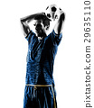 soccer player man silhouette isolated  29635110