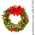 Christmas wreath with red ribbon bow and golden  29635195