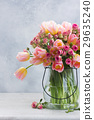 Pink and yellow tulips and roses 29635240
