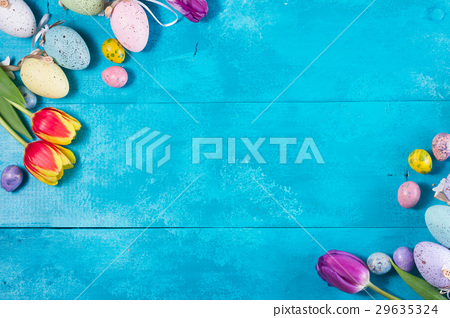 Easter eggs on bright blue background 29635324
