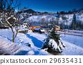 house, snow, night 29635431