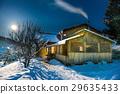 night, house, snow 29635433