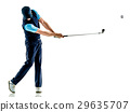 man golfer golfing isolated withe background 29635707