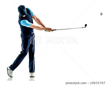 man golfer golfing isolated withe background 29635707