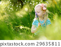 Portrait of cute little cheerful girl outdoors 29635811