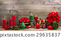 vintage christmas decorations with red flower  29635837