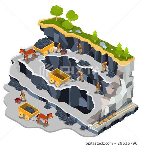 Vector isometric illustration coal mining quarry 29636790