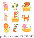 Cute animals bathing and washing in water, set for 29636803