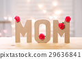 Mom letter blocks with pink carnation flowers 29636841