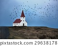 Church and flock of birds 29638178